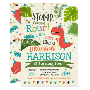 Dinosaur Birthday Invitation Roar Party