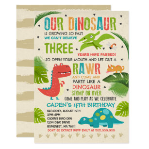 Dinosaur Birthday Invitation T Rex Party