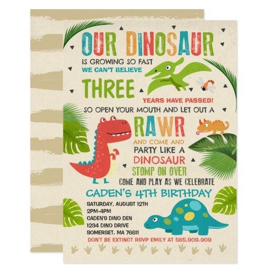 Dinosaur Birthday Invitation T Rex Party