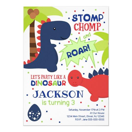 Dinosaur Birthday Invitation For A Boy