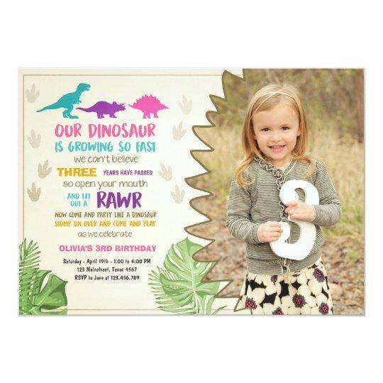 Dinosaur Birthday Invitation Girl Party