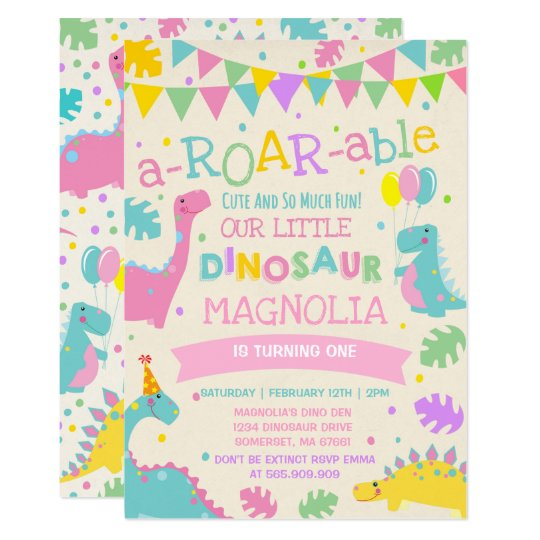 Dinosaur Birthday Invitation Girl Party