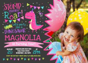 Dinosaur party invitations zazzle dinosaur birthday invitation girl dinosaur party filmwisefo