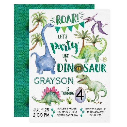 Dinosaur Birthday Invitation Party Like a Dinosaur