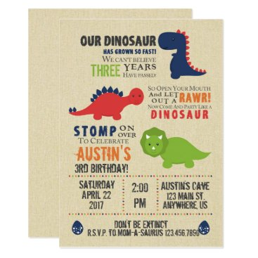 birthday Dinosaur Birthday Invitations