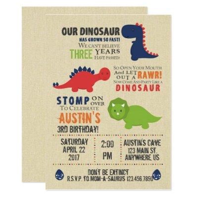 T Rex Dinosaur Birthday Invitation