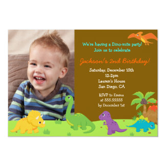 "Dinosaur Birthday Party Invitaions 5"" X 7"" Invitation Card"