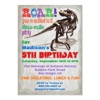 Dinosaur Birthday Party Invitation 5