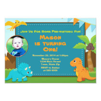 Dinosaur Birthday Party Invitation 1st Birthday