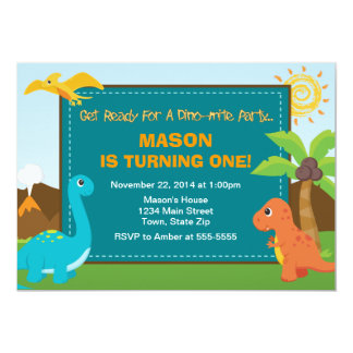Dinosaur Birthday Party Invitation 5x7 Card