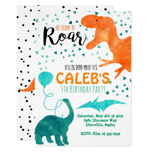 Dinosaur birthday party invitation watercolor