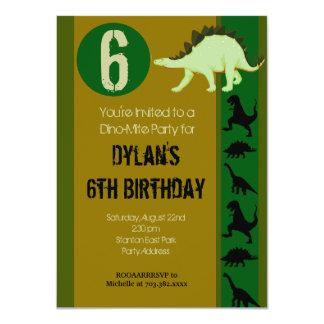 """Dinosaur Birthday Party Invitations Earth Tones 4.5"""" X 6.25"""" Invitation Card"""