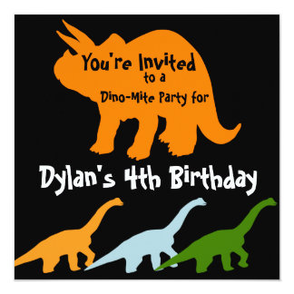 "Dinosaur Birthday Party Invitations Orange Black 5.25"" Square Invitation Card"