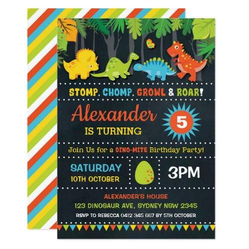 Dinosaur Birthday Party Roar Chalkboard Dino-Mite Invitation