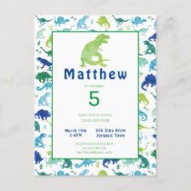 Dinosaur Birthday Party T-Rex Kids Invitation