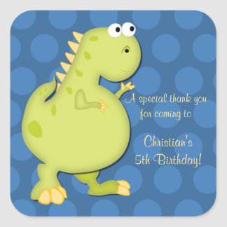 Dinosaur Birthday Party Thank You Stickers-blue Square Sticker