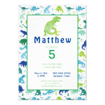 Dinosaur Birthday Party Watercolor Kids Invitation
