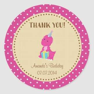 Dinosaur Birthday Thank You Sticker