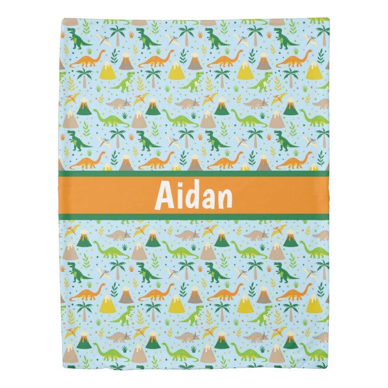 Dinosaur Blue Green Orange Duvet Cover