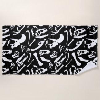 Dinosaur Bones (Black and White) Beach Towel