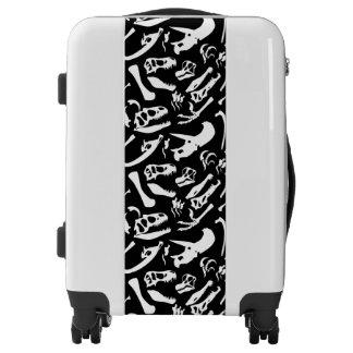 Dinosaur Bones (Black and White) Luggage