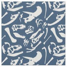 Dinosaur Bones (Blue) Fabric