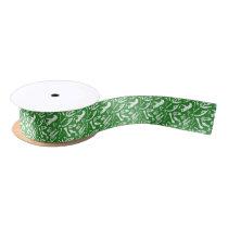 Dinosaur Bones (Green) Satin Ribbon