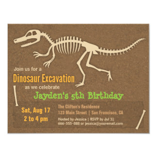 Dinosaur Bones Kids Birthday Party Invitations