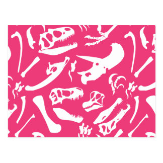 Dinosaur Bones (Pink) Postcard