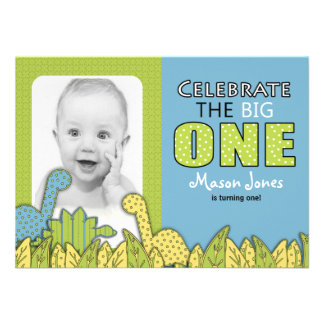 Dinosaur Boy First Birthday Party Invitations