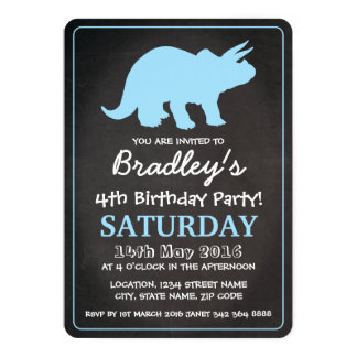 Dinosaur Boys Blue Chalkboard Birthday Party Card