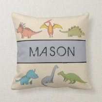 Dinosaur Boys Room Personalized Name Pillow