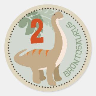 Dinosaur Brontosaurus Birthday Cupcake Topper Classic Round Sticker