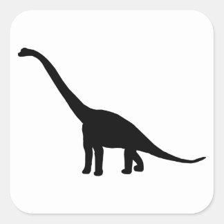 Dinosaur Brontosaurus Black and White Square Sticker