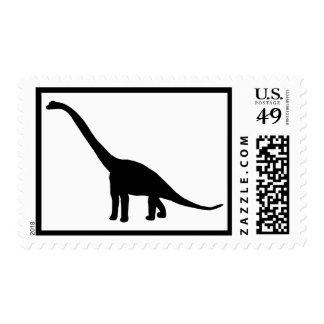 Dinosaur Brontosaurus Silhouette Postage Stamp