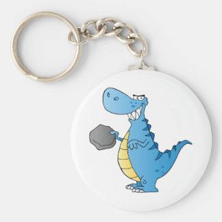 Dinosaur  Cartoon Character Basic Round Button Keychain