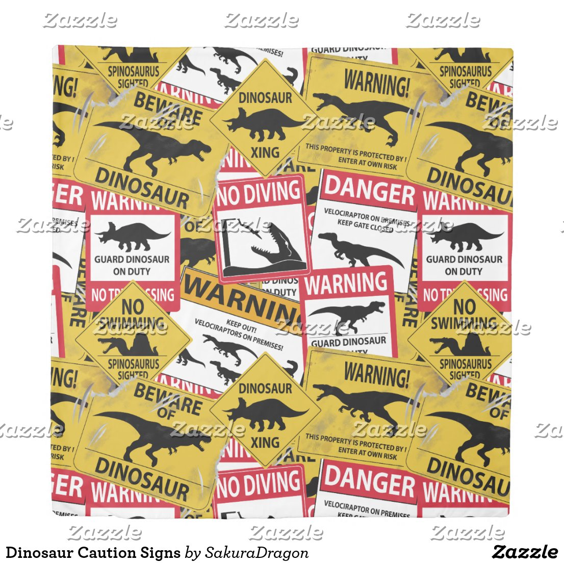 Dinosaur Caution Signs Duvet Cover