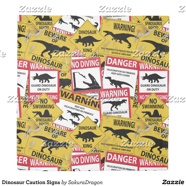 Dinosaur Caution Signs Duvet Cover