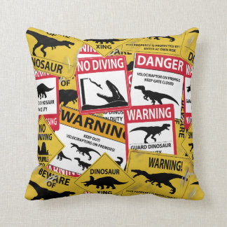 Dinosaur Caution Signs Throw Pillow