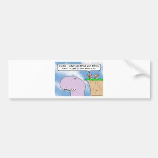 dinosaur caveman split bumper sticker