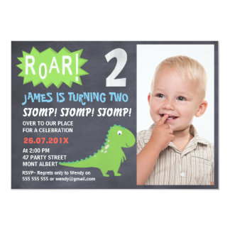 Dinosaur Chalkboard Photo 2nd Birthday Invitation