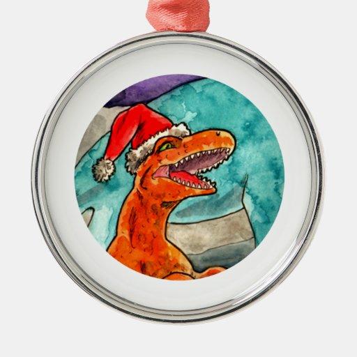 Dinosaur Christmas Bauble Metal Ornament