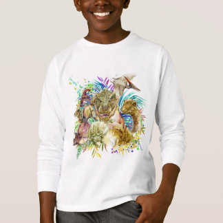 Dinosaur Collage White Long Sleeve T-Shirt