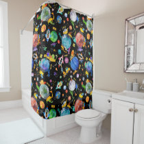 Dinosaur Construction Crew Outer Space Astronauts Shower Curtain