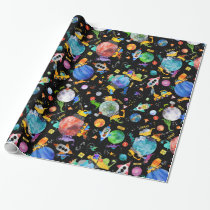 Dinosaur Construction Crew Outer Space Astronauts Wrapping Paper