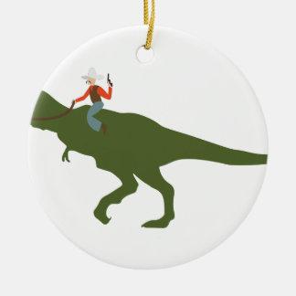 Dinosaur Cowboy Ceramic Ornament