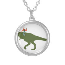 Dinosaur Cowboy Silver Plated Necklace