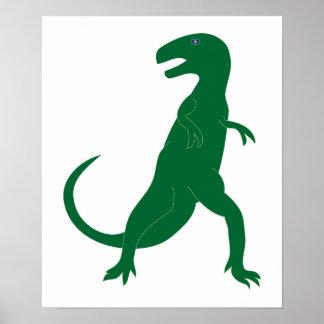 Dinosaur Cretaceous Tyrannosaurus Cartoon Art Poster
