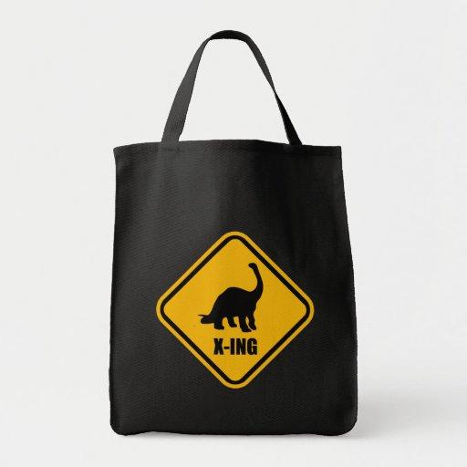 Dinosaur Crossing Street Sign Canvas Bags