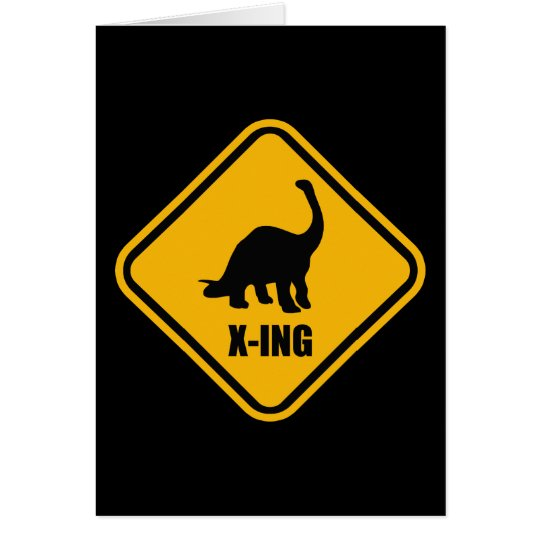 Dinosaur Crossing Street Sign Card